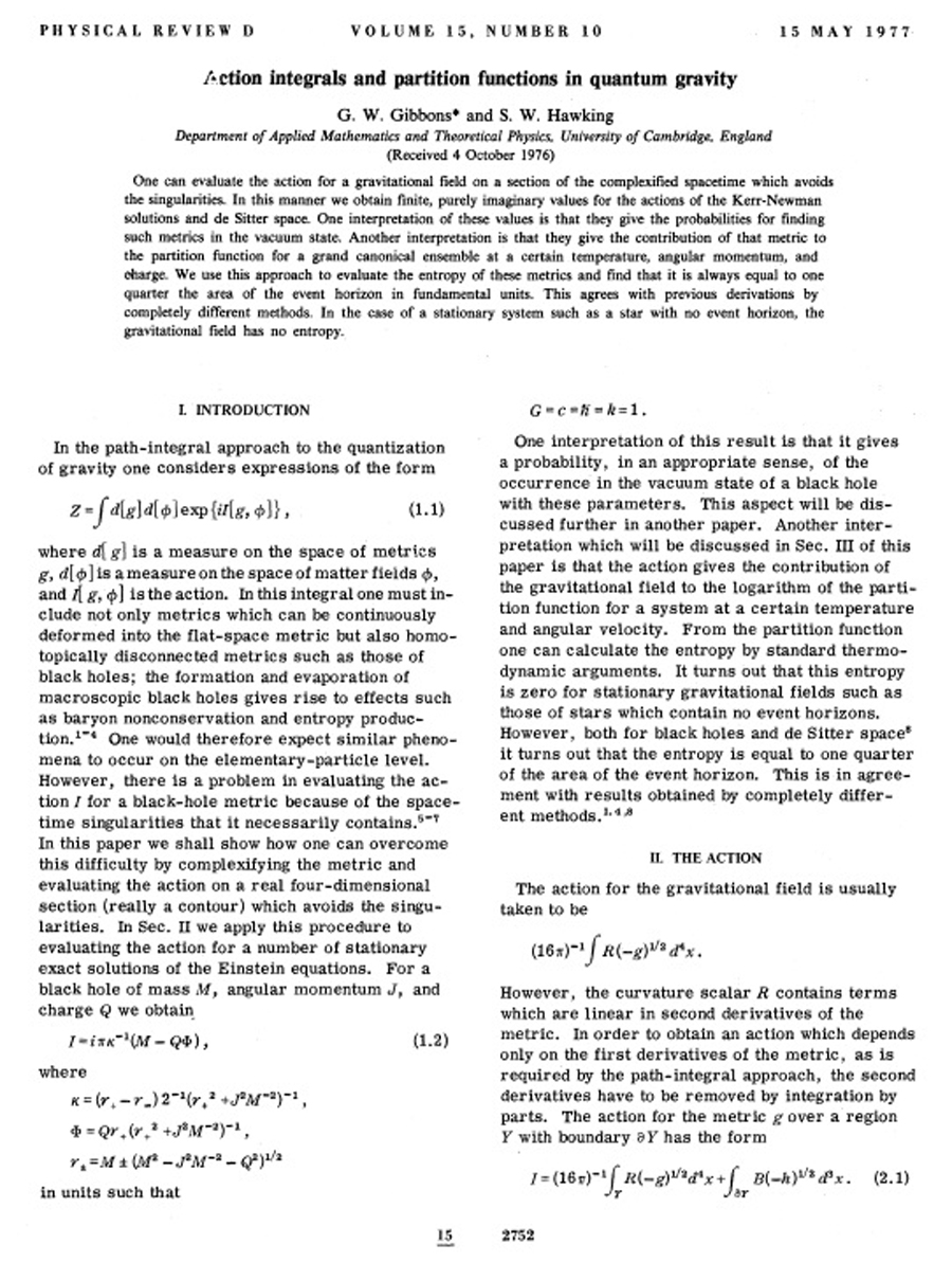 Action integrals and partition functions in quantum gravity