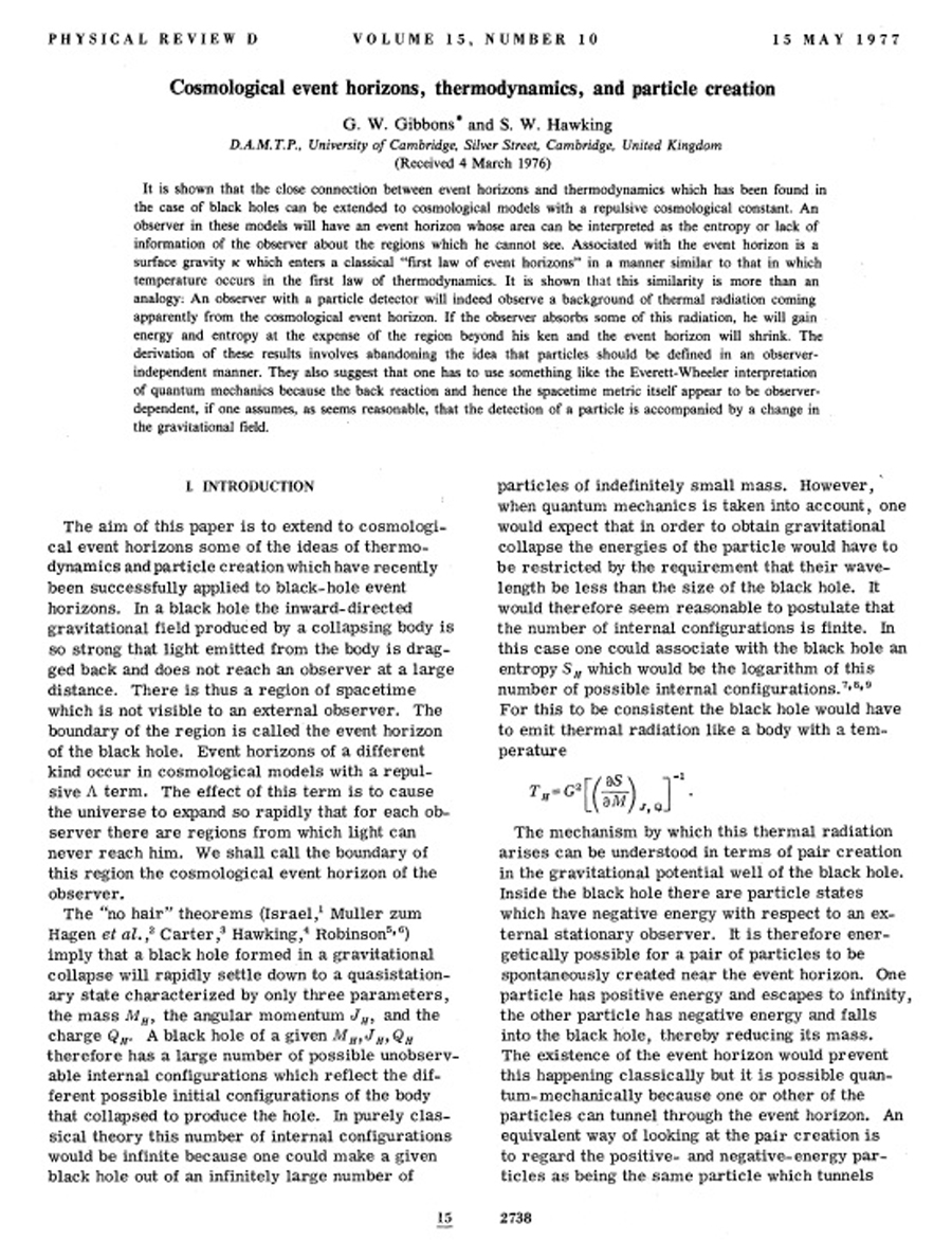 Cosmological event horizons, thermodynamics, and particle creation